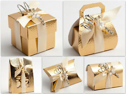 Pelle Gold Boxes Wedding Christmas Party Gift Favour Pack of 10 GBP 5.81