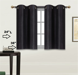 2 SOLID SHORT GROMMET PANELS WINDOW CURTAINS FOR ANY ROOM 24quot; OR 36quot; LENGTH $7.00