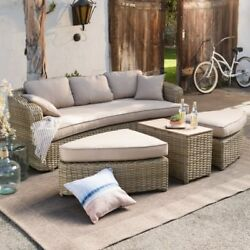Sectional Outdoor Porch Patio Wicker Sofa Bed Seat Table Set Cushion Garden Wood