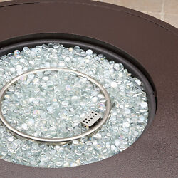 Large Gas Fire Pit Round Modern Style Outdoor Heater Fireplace Patio Backyard