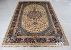 YILONG 6'x9' Handknotted Persian Silk Carpet Medallion Family Room Indoor Rug