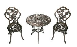 WROUGHT IRON PATIO Bistro Set Rose Table And Chairs 3 Pieces Garden Outdoor Furn