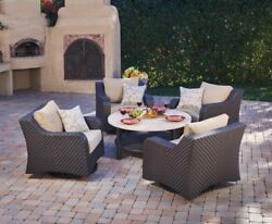 Sunbrella® Outdoor 5pc Swivel Chat Patio Furniture Rocking Club Chairs Aluminum
