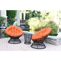 Swivel Chair and Table Set Thick Cushions Espresso Wicker Outdoor Orange New