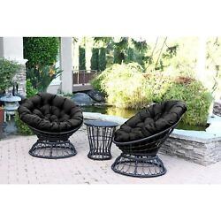 Swivel Chair and Table Set Thick Cushions Espresso Wicker Outdoor Black New Deck