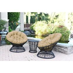 Swivel Chair and Table Set Thick Cushions Espresso Wicker Outdoor Tan New Deck