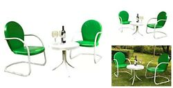 Vintage Patio Set 3 Piece Outdoor Retro Chat Furniture Chairs Table Yard Garden