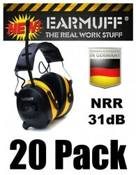 (20) 31dB WIRELESS YELLOW HEADPHONES Digital AM FM Radio MP3 Protection Ear Muff