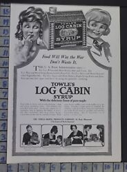 1918 LOG CABIN SYRUP BREAKFAST KITCHEN MAPLE HOME DECOR VINTAGE ART AD  CH65