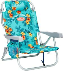 Portable Beach Chair Backpack Straps Cooler Floral Adjustable Durable Turquoise