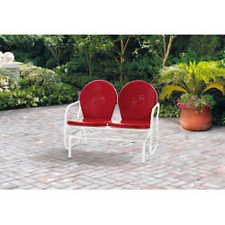 Outdoor Retro Bench Metal Glider Red 2 Seater Patio Chair Furniture For Garden