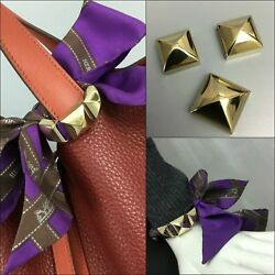 Hermes 3 Three-Piece Gold Plated Pyramid Medor Studs Twilly Scarf Ring Accessory
