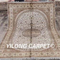 YILONG 6'x9' Outdoor Hand Knotted Area Rug White Handmade Silk Carpet Sale W302C
