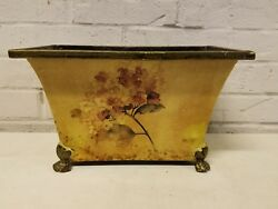 Antique Tole Painted Footed Floral Decorated Planter $125.00