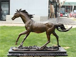 Western Pure Bronze Copper Marble Art Decoration Running Horse Statue Sculpture
