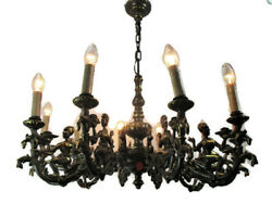 Impressive Eastern style Chandelier Bronze 10 Lights Genie Figurines Lamps  HTF