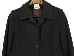 Anne Klein Sz. 12 100% Wool Lightly Used Charcoal Grey 5 Button Long Jacket