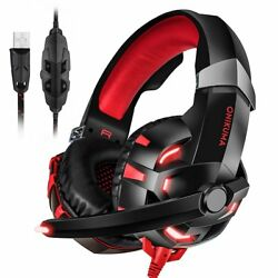 K2 Gaming Headset USB 7.1 Channel Headphone Noise Cancelling with Mic for PC Red