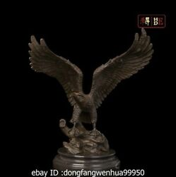 Art Sculpture Decoration Western Bronze Copper Marble Eagle Hawk Statue Figurine