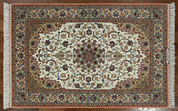 4' X 6' Authentic Signed Persian Isfahan Wool & Silk Area Rug - SA2648