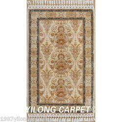 Yilong 3'x5' Persian Hand made Silk Area Rugs Outdoor Carpets Hand Knotted 1530