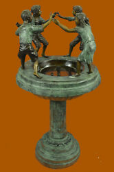 Historical Museum Four Kid Playing Fountain Art Bronze Sculpture Statue Figure T
