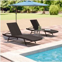 Outdoor Chaise Lounge Folding Set of 2 For Couple Relax Yard Pool Garden Beach