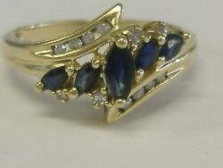 VINTAGE 14 GOLD DIAMOND AND SAPPHIRE LADY#x27;S RING SIZE 7.25 L0T4823 $289.99