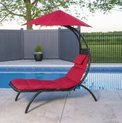 Patio Outdoor Chaise Lounge With Umbrella Cherry Red Metal Frame Garden Yard NEW