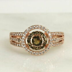 Double Halo Soleil Chocolate CZ Rose Gold Women Fashion Ring size 5-11