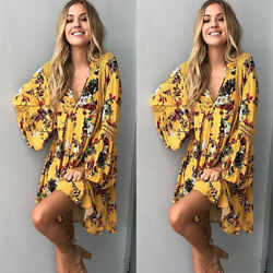 Women Bohemian Dress Casual Floral Embroidered Long Sleeve Mini Beach Loose Fit C $22.41