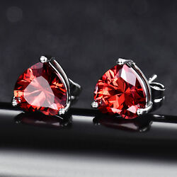 Heart Cut Red Crystal Topaz Studs Silver Gold Filled Women Lady Party Earrings