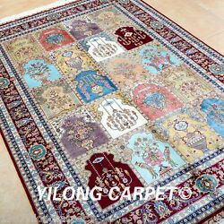 Yilong 4'x6' Four Season Area Silk Rug Handmade Carpet Outdoor Hand Knotted 0664