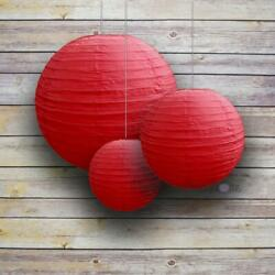 8 12 16quot; Red Round Paper Lanterns Even Ribbing 3 Pack Cluster $8.50