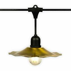 Patio Metal Light Bulb Shade for Outdoor Commercial String Lights E26 Brass