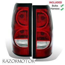 2003-06 Replacement Rear Tail Lights Set For Chevy Silverado wBulb and Harness