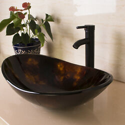 Oval Bathroom Tempered Glass Vessel Sink ORB Faucet&Pop up Drain Combo Set $89.99