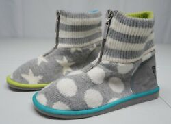 Little Miss Matched Womens 8 M Gray Cotton Front Zip Slipper Boots