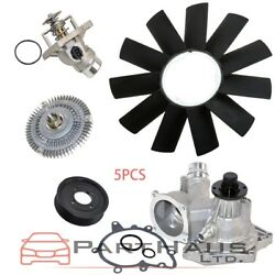 Water Pump Thermostat Fan Clutch Fan Blade Pulley Kit For BMW 540i 740i 740iL