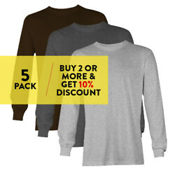 5 PACK AAA 1304 ALSTYLE MENS PLAIN LONG SLEEVE T SHIRT CASUAL SHIRTS COTTON TEE $36.90
