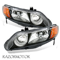 2006-2011 Replacement Headlight Pair For Honda Civic 4 Dr Sedan Black Housing $77.25