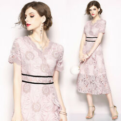 2018 women's fashion temperament V neck lace hollow out slim short sleeve Dress