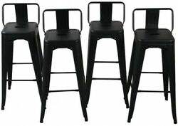 30 in Black Steel Bar Stool Low Back Seat Kitchen Counter Cafe Patio Chair 4 PCs