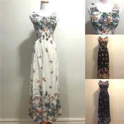 Floral Maxi Long Dress Scoop Neck Sleeveless Sundress Summer Evening Party S XL $15.99