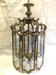 Lantern Chandelier with 8 Glass Panels and 8 Armed Lights