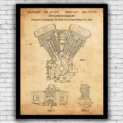 Harley Davidson Evo Motorcycle Engine Patent Art Print Size and Frame Options $17.00