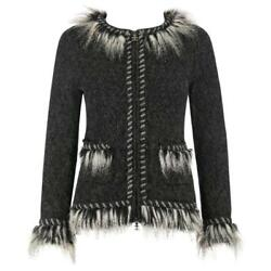CHANEL Gray Alpaca Cashmere Knit Fringe Fur Zip Front Cardigan Sweater Jacket