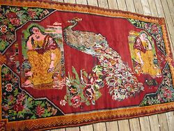 1910   ARMENIAN  KARABAGH  PICTORIAL RUG  WITH  PEACOCK   FULL PILE EXCELLENT