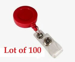 [Lot of 100] Red 1.25'' Retractable Badge ID Reel with Vinyl Strap