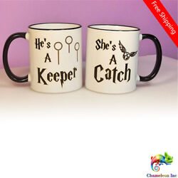 Couples Harry Potter Mugs He's a Keeper She's a Catch Quidditch Mug Cup Set